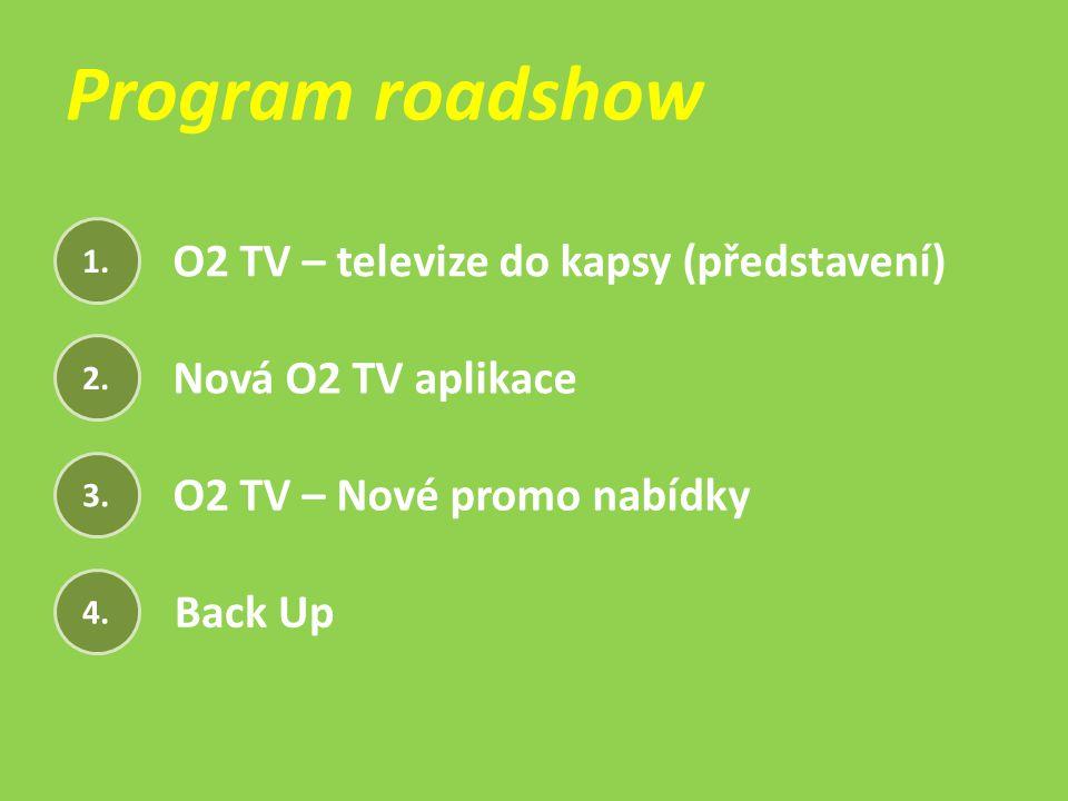 1. 2. 3. 4. O2 TV – televize do kapsy (představení) Nová O2 TV aplikace O2 TV – Nové promo nabídky Back Up Program roadshow