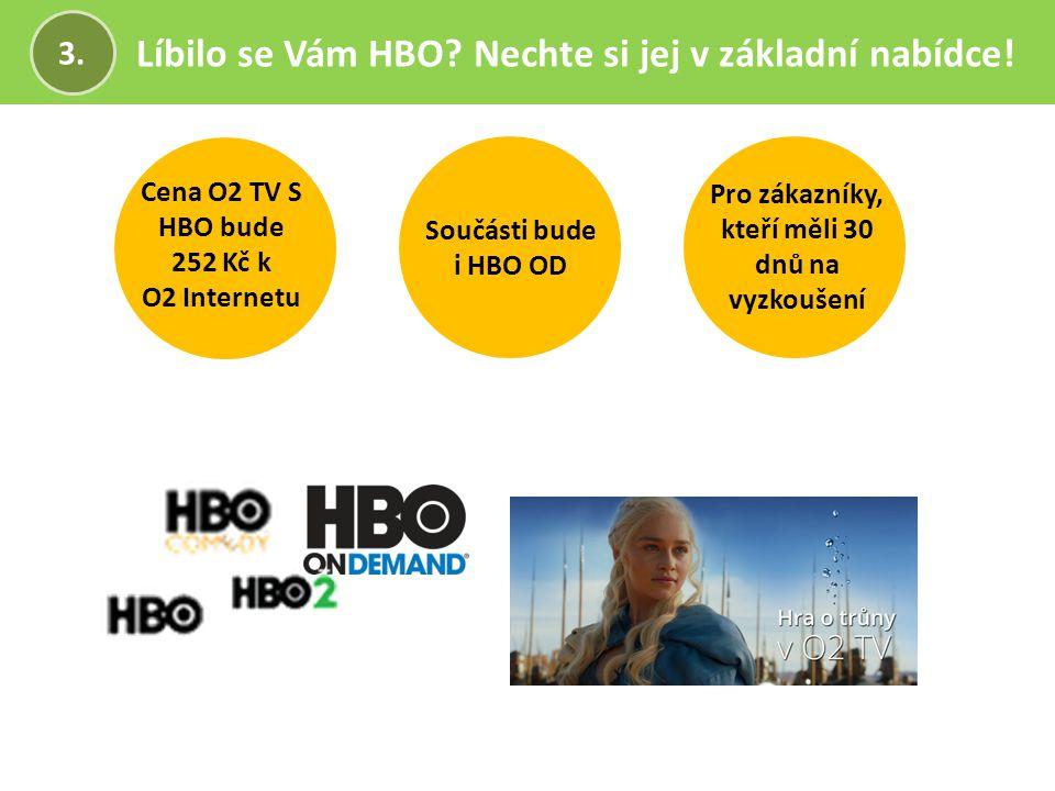 Líbilo se Vám HBO? Nechte si jej v základní nabídce! 3. Pro zákazníky, kteří měli 30 dnů na vyzkoušení Cena O2 TV S HBO bude 252 Kč k O2 Internetu Sou