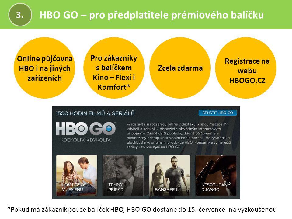 HBO GO – pro předplatitele prémiového balíčku 3. Zcela zdarma Registrace na webu HBOGO.CZ Online půjčovna HBO i na jiných zařízeních Pro zákazníky s b