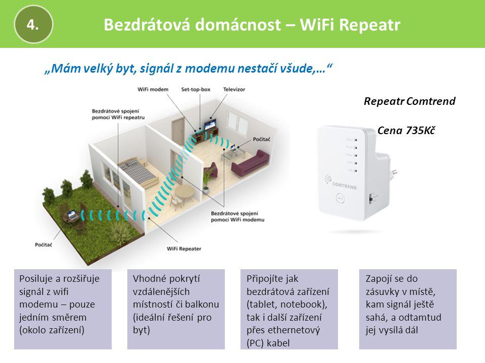 """Bezdrátová domácnost – WiFi Repeatr 4. """"Mám velký byt, signál z modemu nestačí všude,…"""" Repeatr Comtrend Cena 735Kč Posiluje a rozšiřuje signál z wifi"""