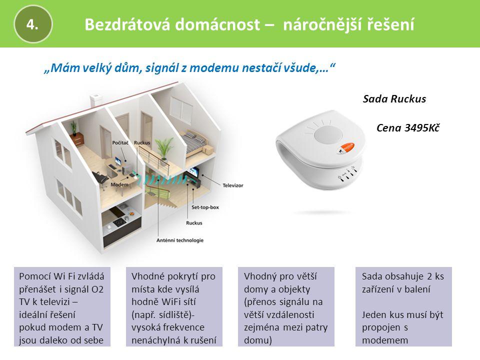 """Bezdrátová domácnost – náročnější řešení 4. """"Mám velký dům, signál z modemu nestačí všude,…"""" Sada Ruckus Cena 3495Kč Pomocí Wi Fi zvládá přenášet i si"""