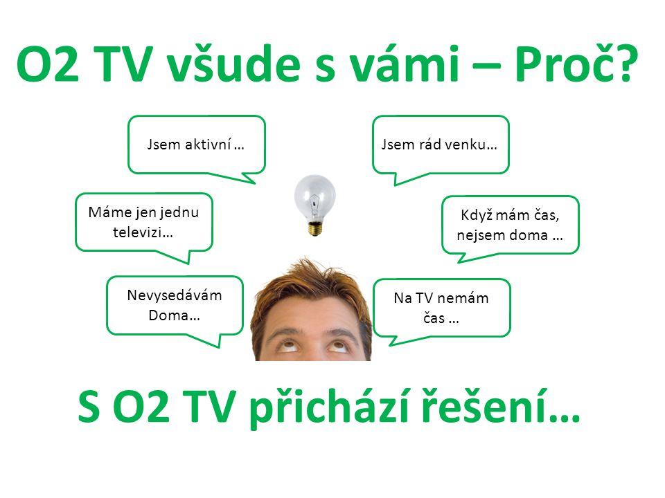 S O2 TV přichází řešení… Jsem aktivní … Nevysedávám Doma… Jsem rád venku… Na TV nemám čas … O2 TV všude s vámi – Proč? Když mám čas, nejsem doma … Mám