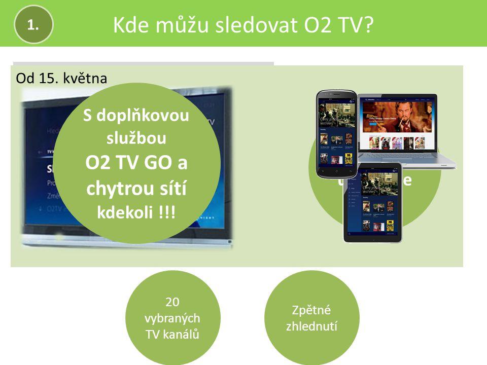 Kde můžu sledovat O2 TV? Do 15. května Od 15. května 20 vybraných TV kanálů Zpětné zhlednutí 1. Jen doma u televize S doplňkovou službou O2 TV GO a ch