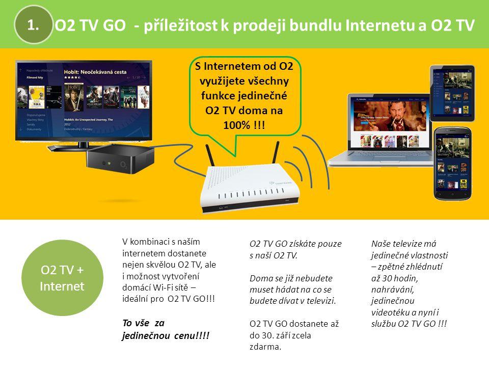 O2 TV GO - příležitost k prodeji bundlu Internetu a O2 TV 1. O2 TV + Internet O2 TV GO získáte pouze s naší O2 TV. Doma se již nebudete muset hádat na