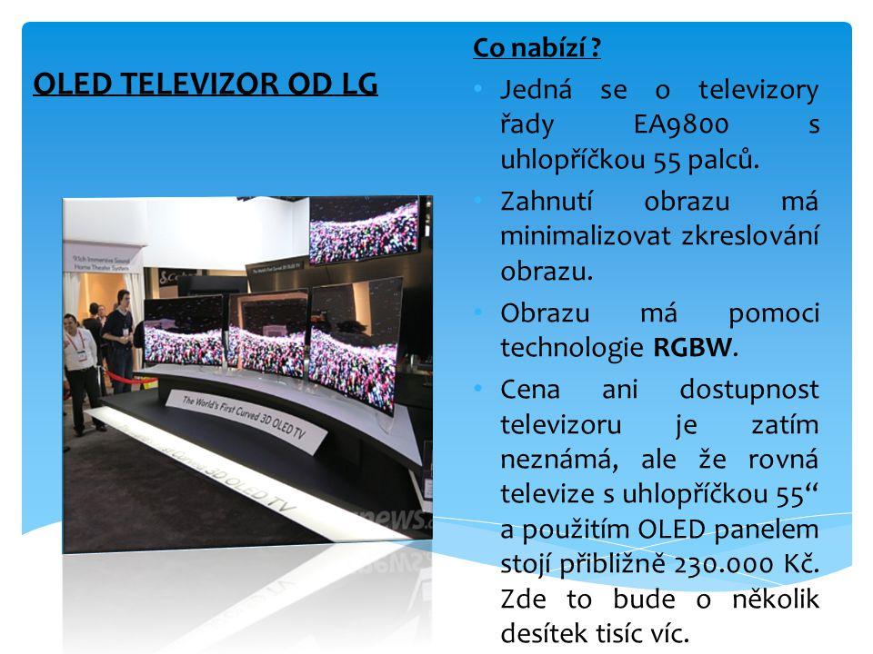 OLED TELEVIZOR OD LG Co nabízí ? • Jedná se o televizory řady EA9800 s uhlopříčkou 55 palců. • Zahnutí obrazu má minimalizovat zkreslování obrazu. • O