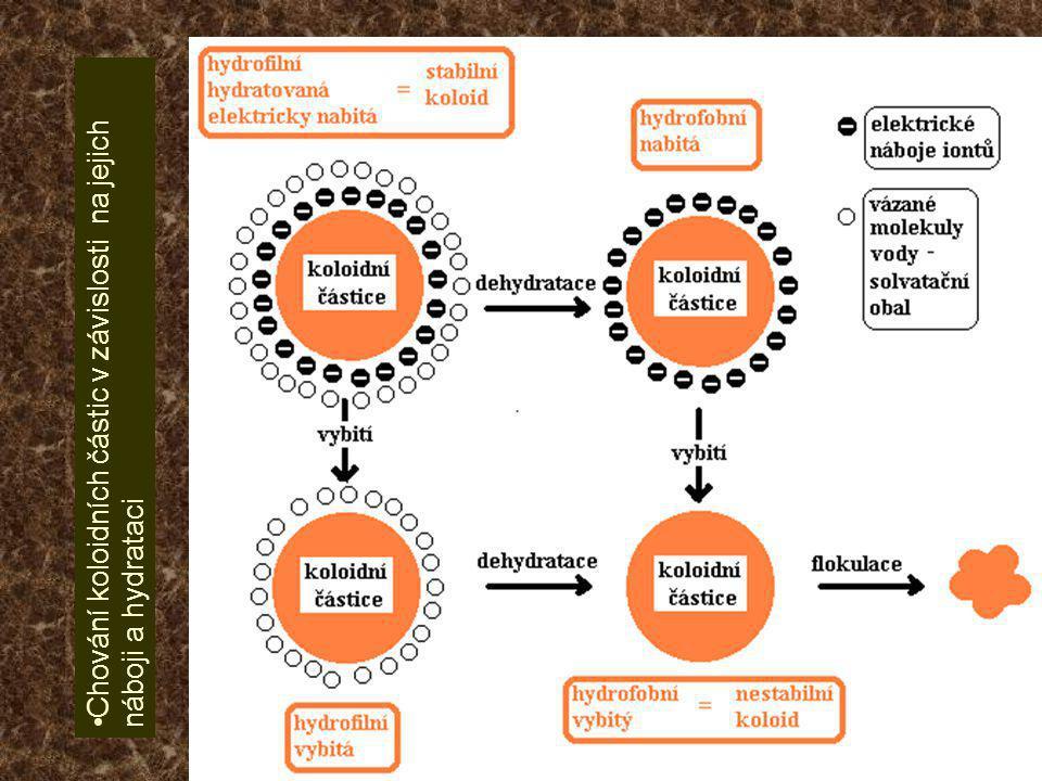 •Chování koloidních částic v závislosti na jejich náboji a hydrataci