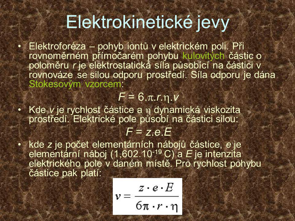 Elektrokinetické jevy •Elektroforéza – pohyb iontů v elektrickém poli.