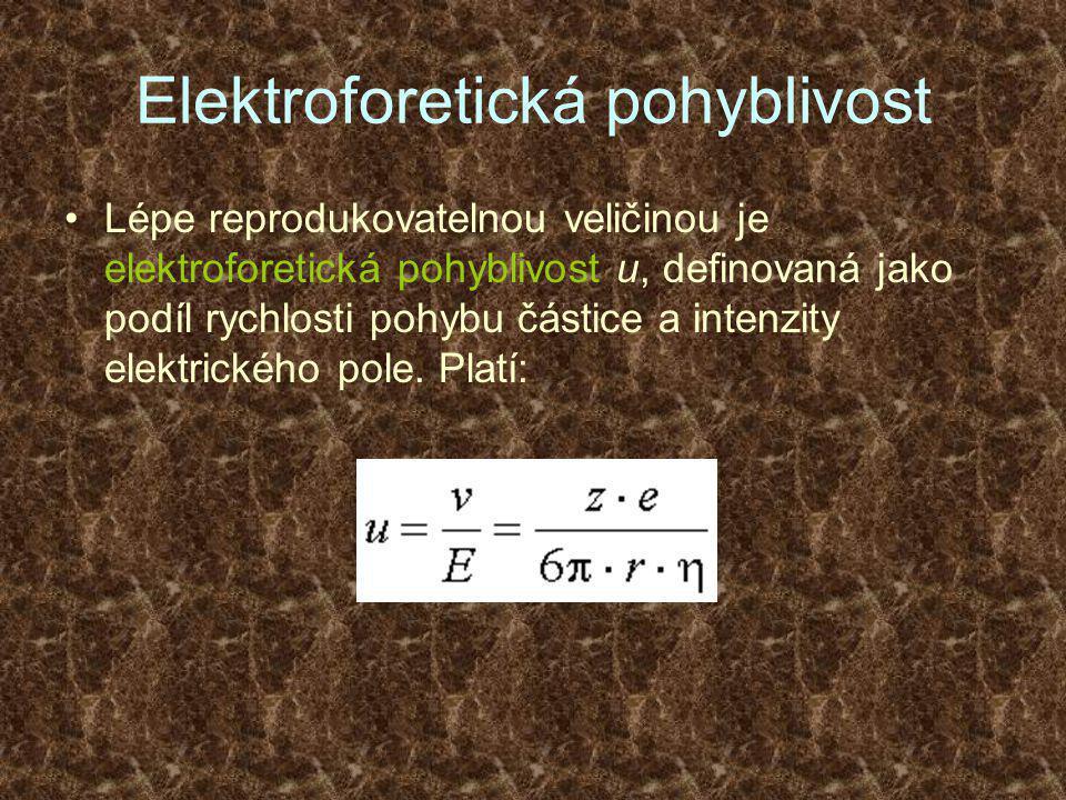 Elektroforetická pohyblivost •Lépe reprodukovatelnou veličinou je elektroforetická pohyblivost u, definovaná jako podíl rychlosti pohybu částice a intenzity elektrického pole.