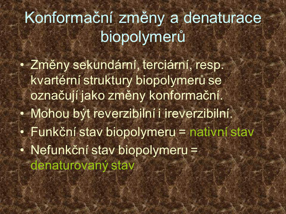 Konformační změny a denaturace biopolymerů •Změny sekundární, terciární, resp.
