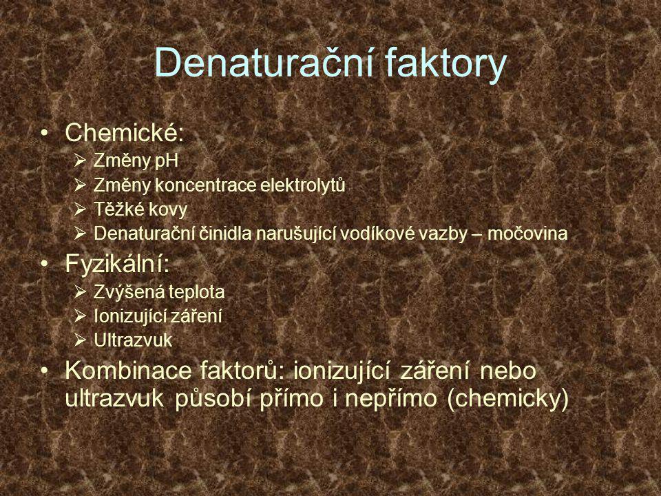Denaturační faktory •Chemické:  Změny pH  Změny koncentrace elektrolytů  Těžké kovy  Denaturační činidla narušující vodíkové vazby – močovina •Fyzikální:  Zvýšená teplota  Ionizující záření  Ultrazvuk •Kombinace faktorů: ionizující záření nebo ultrazvuk působí přímo i nepřímo (chemicky)