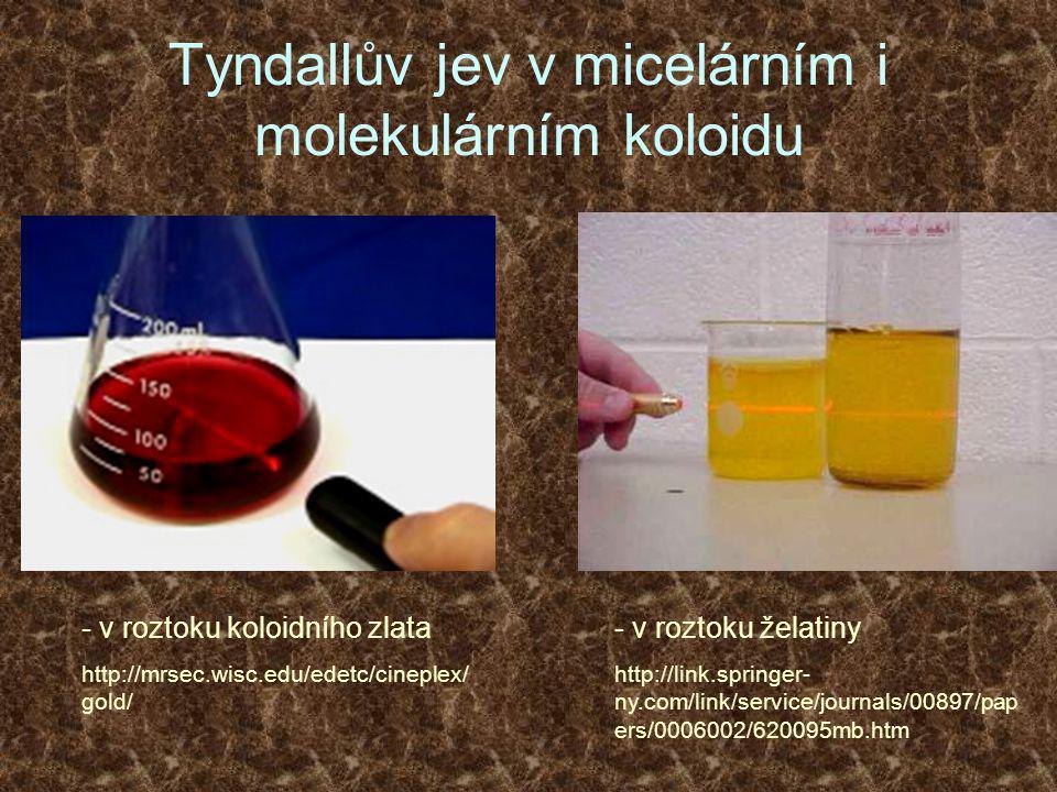 Tyndallův jev v micelárním i molekulárním koloidu - v roztoku želatiny http://link.springer- ny.com/link/service/journals/00897/pap ers/0006002/620095mb.htm - v roztoku koloidního zlata http://mrsec.wisc.edu/edetc/cineplex/ gold/