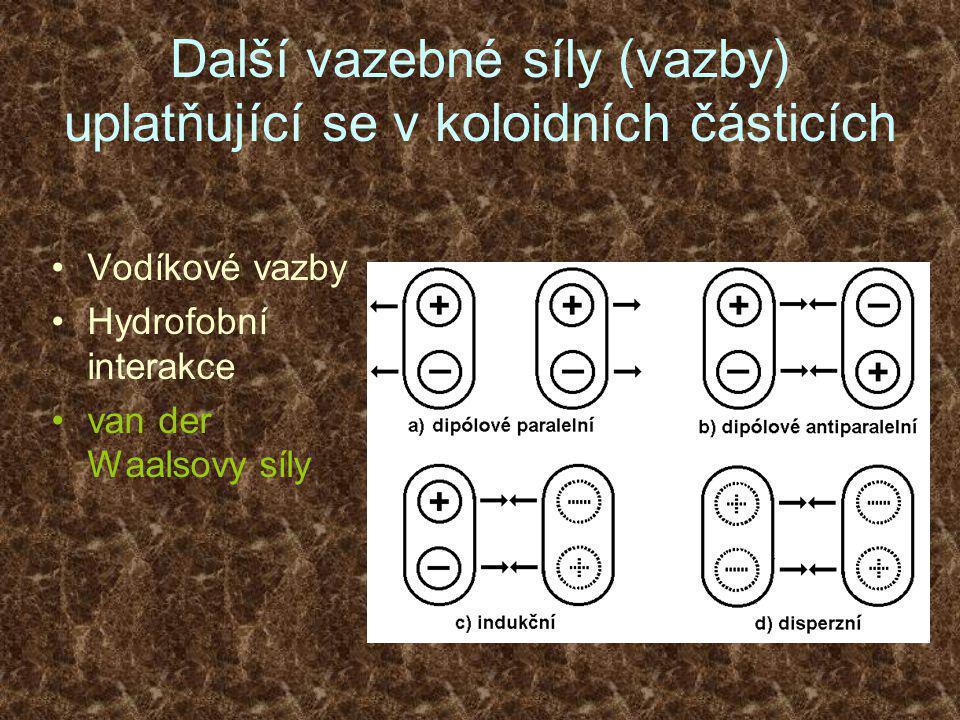 Další vazebné síly (vazby) uplatňující se v koloidních částicích •Vodíkové vazby •Hydrofobní interakce •van der Waalsovy síly