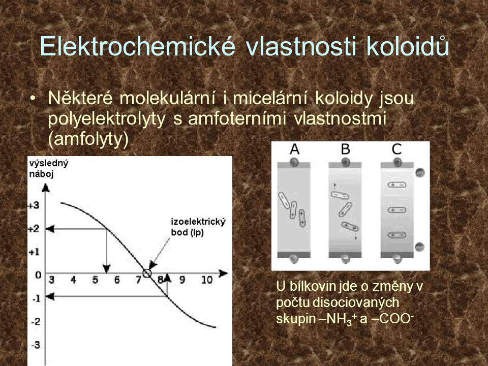 Elektrochemické vlastnosti koloidů •Některé molekulární i micelární koloidy jsou polyelektrolyty s amfoterními vlastnostmi (amfolyty) U bílkovin jde o změny v počtu disociovaných skupin –NH 3 + a –COO -
