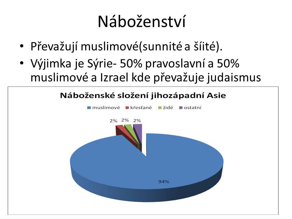 Náboženství • Převažují muslimové(sunnité a šíité). • Výjimka je Sýrie- 50% pravoslavní a 50% muslimové a Izrael kde převažuje judaismus