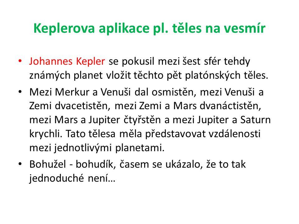 Keplerova aplikace pl. těles na vesmír • Johannes Kepler se pokusil mezi šest sfér tehdy známých planet vložit těchto pět platónských těles. • Mezi Me