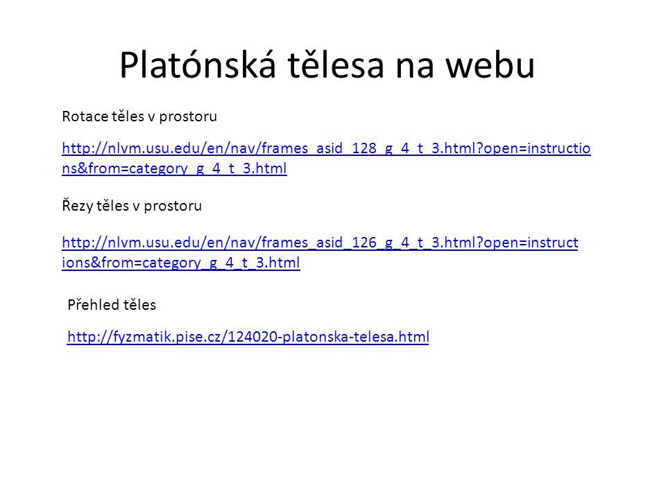 Platónská tělesa na webu http://nlvm.usu.edu/en/nav/frames_asid_128_g_4_t_3.html?open=instructio ns&from=category_g_4_t_3.html Rotace těles v prostoru