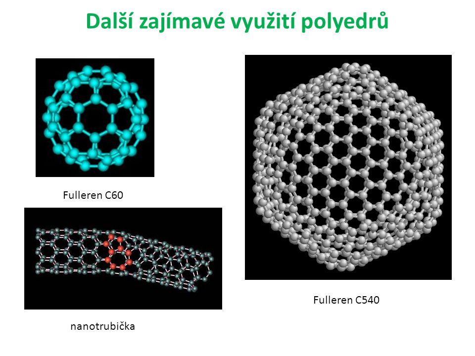 Další zajímavé využití polyedrů Fulleren C60 Fulleren C540 nanotrubička