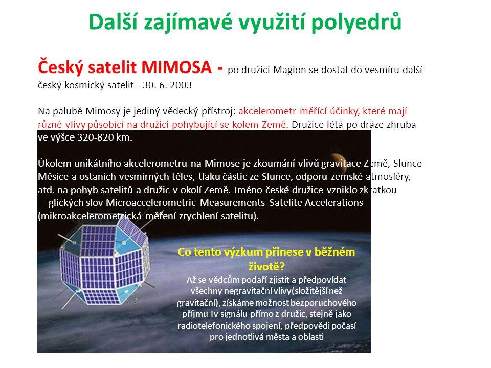 Další zajímavé využití polyedrů Český satelit MIMOSA - po družici Magion se dostal do vesmíru další český kosmický satelit - 30. 6. 2003 Na palubě Mim
