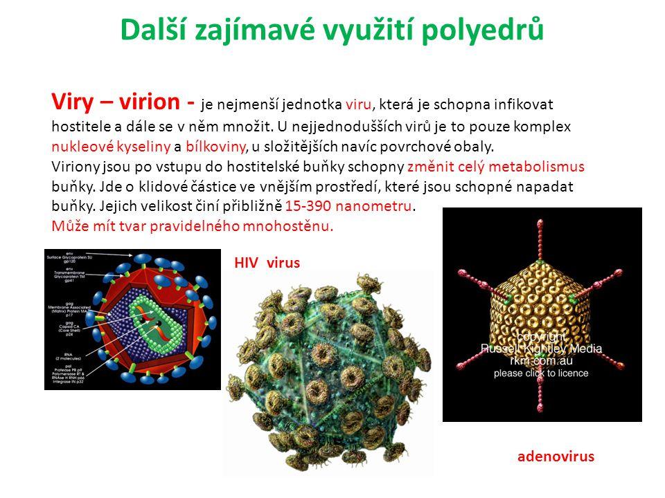 Další zajímavé využití polyedrů Viry – virion - je nejmenší jednotka viru, která je schopna infikovat hostitele a dále se v něm množit. U nejjednodušš