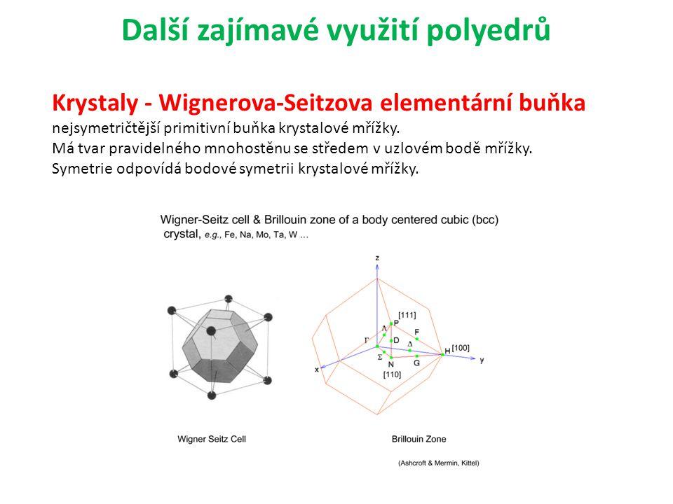 Další zajímavé využití polyedrů Krystaly - Wignerova-Seitzova elementární buňka nejsymetričtější primitivní buňka krystalové mřížky. Má tvar pravideln
