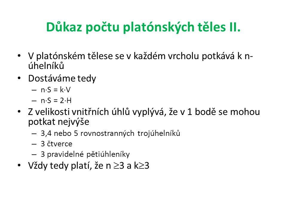 Důkaz počtu platónských těles II. • V platónském tělese se v každém vrcholu potkává k n- úhelníků • Dostáváme tedy – n  S = k  V – n  S = 2  H • Z