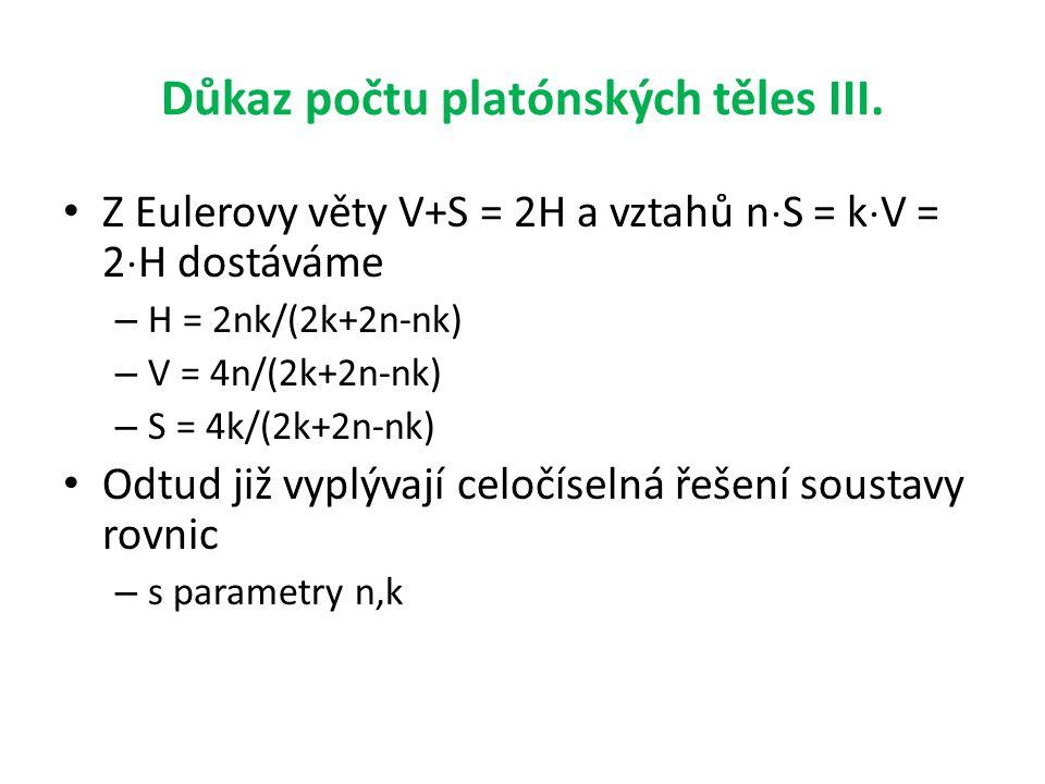 Důkaz počtu platónských těles III. • Z Eulerovy věty V+S = 2H a vztahů n  S = k  V = 2  H dostáváme – H = 2nk/(2k+2n-nk) – V = 4n/(2k+2n-nk) – S =