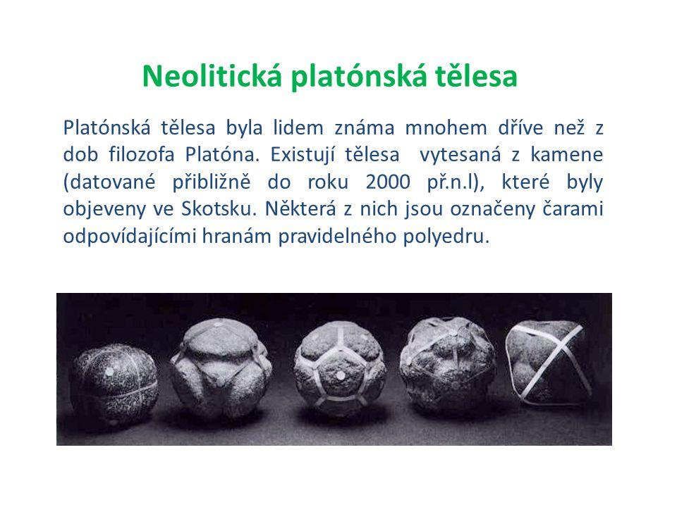 Platónská tělesa byla lidem známa mnohem dříve než z dob filozofa Platóna. Existují tělesa vytesaná z kamene (datované přibližně do roku 2000 př.n.l),