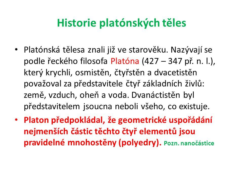 Historie platónských těles • Platónská tělesa znali již ve starověku. Nazývají se podle řeckého filosofa Platóna (427 – 347 př. n. l.), který krychli,
