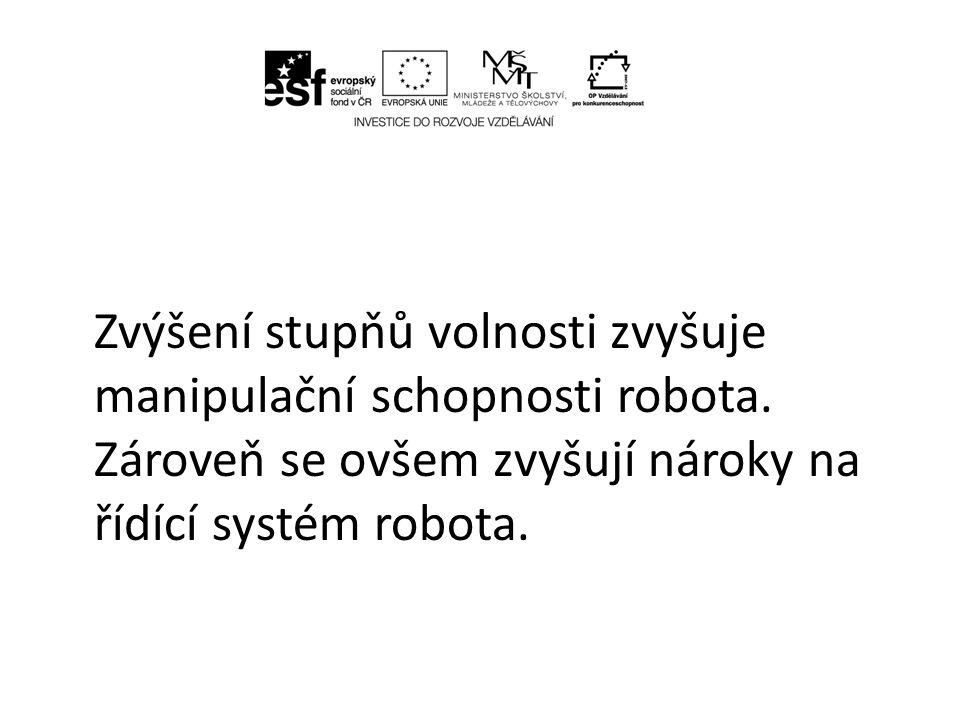 4.2.1.1 Kinematika robotů U robotů se v praxi nejvíce rozšířily čtyři základní typy kinematických dvojic, kterým potom odpovídá určitý pracovní prostor robotů.