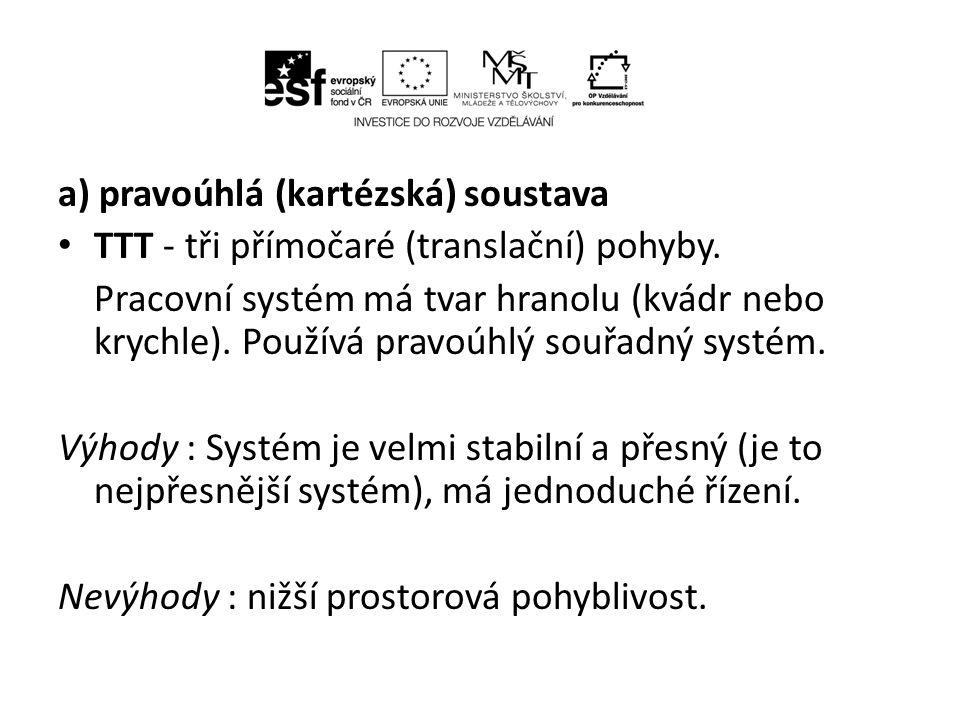 a) pravoúhlá (kartézská) soustava • TTT - tři přímočaré (translační) pohyby.