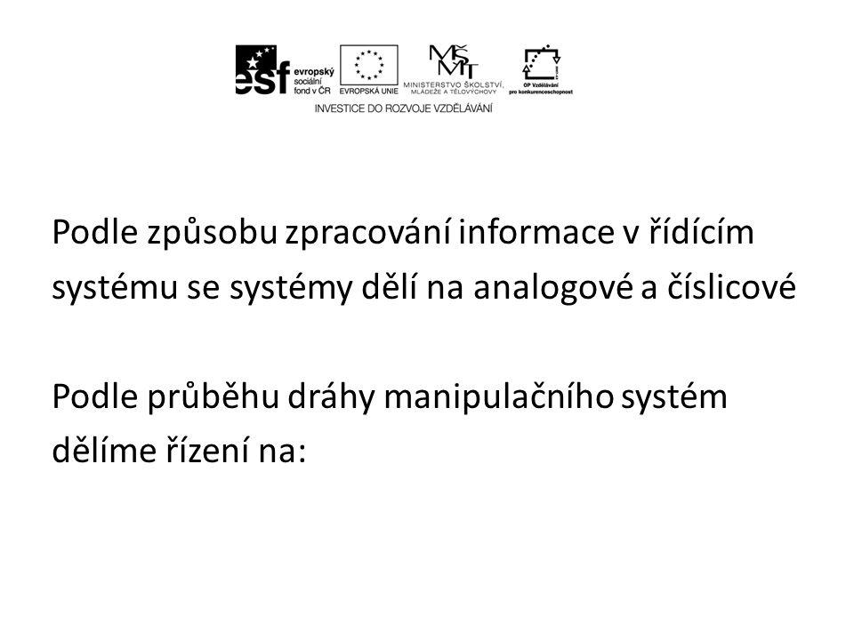 PTP řízení – řízení bod po bodu (Point to Point) – bodové řízení – manipulační nebo technologická operace je rozdělena do poměrně malého počtu jednoduchých kroků (obvykle 30 až 50)