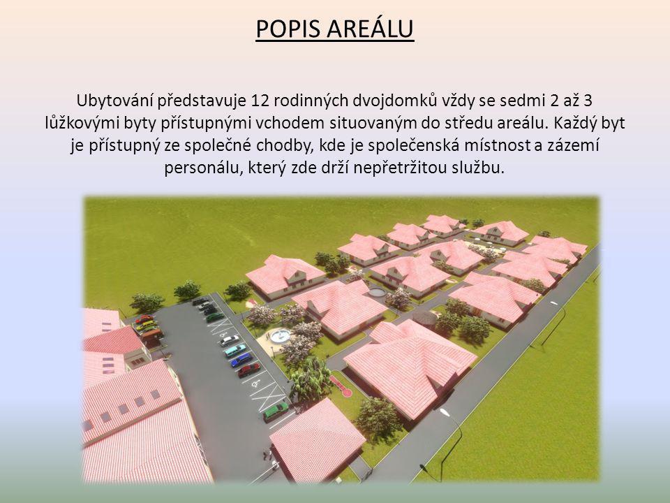 POPIS AREÁLU Ubytování představuje 12 rodinných dvojdomků vždy se sedmi 2 až 3 lůžkovými byty přístupnými vchodem situovaným do středu areálu. Každý b