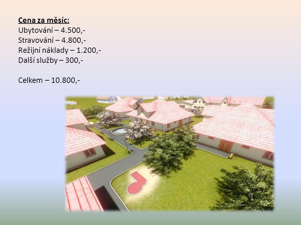 Cena za měsíc: Ubytování – 4.500,- Stravování – 4.800,- Režijní náklady – 1.200,- Další služby – 300,- Celkem – 10.800,-