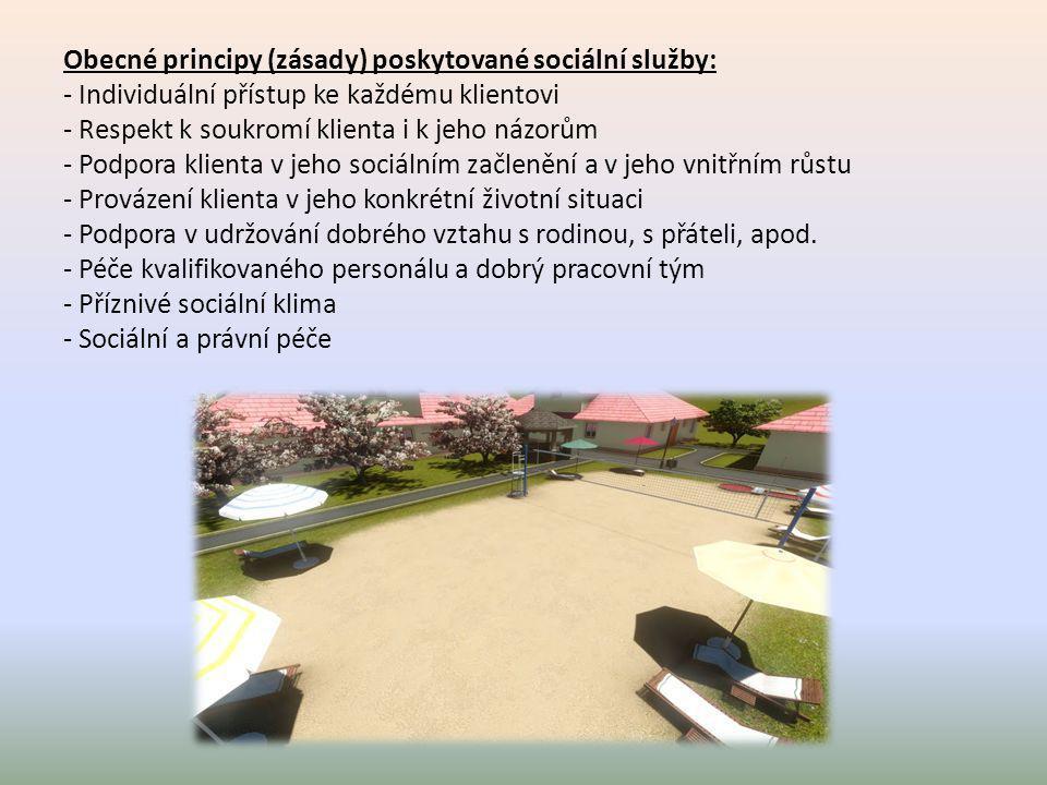 Obecné principy (zásady) poskytované sociální služby: - Individuální přístup ke každému klientovi - Respekt k soukromí klienta i k jeho názorům - Podp