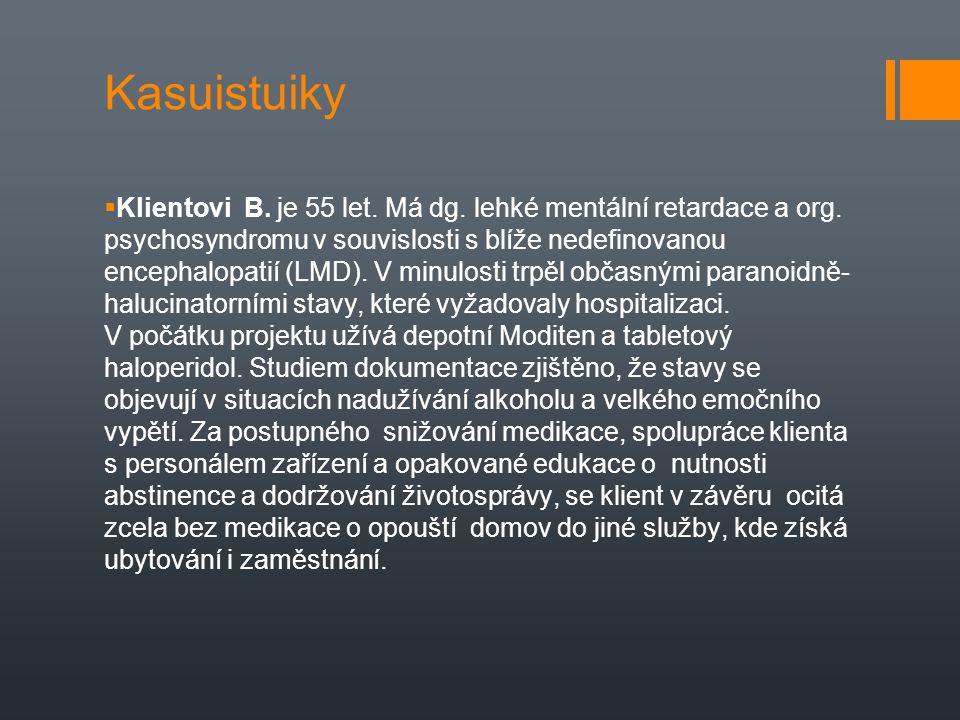 Kasuistuiky  Klientovi B. je 55 let. Má dg. lehké mentální retardace a org. psychosyndromu v souvislosti s blíže nedefinovanou encephalopatií (LMD).