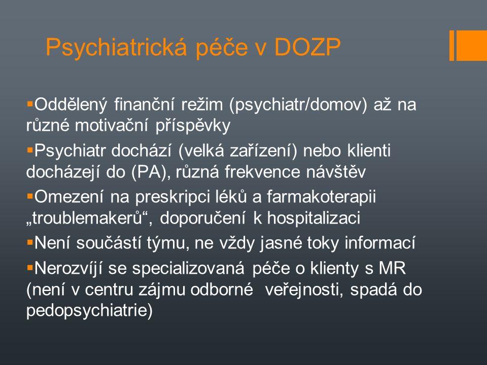Psychiatrická péče v DOZP  Oddělený finanční režim (psychiatr/domov) až na různé motivační příspěvky  Psychiatr dochází (velká zařízení) nebo klient