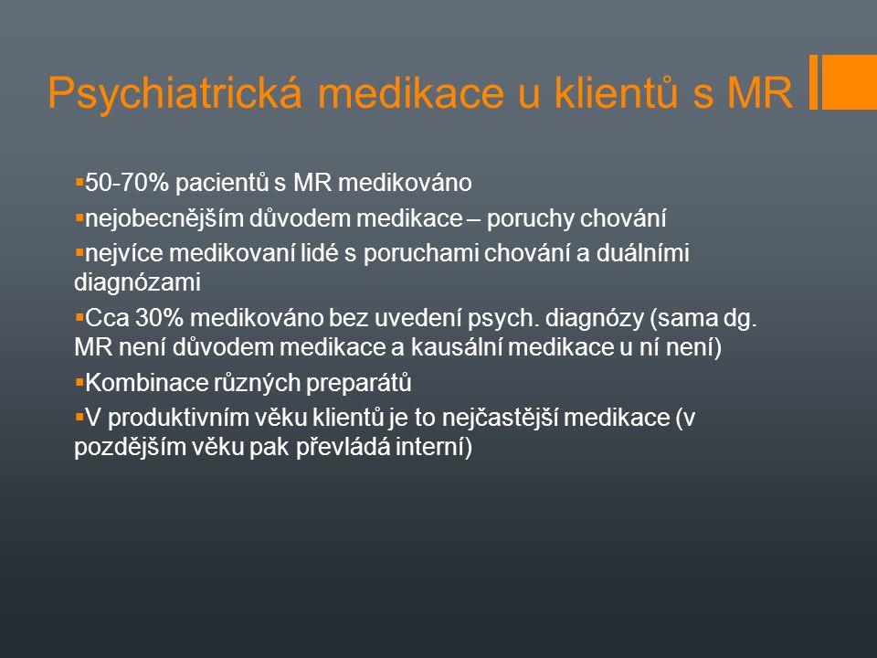 Psychiatrická medikace u klientů s MR  50-70% pacientů s MR medikováno  nejobecnějším důvodem medikace – poruchy chování  nejvíce medikovaní lidé s