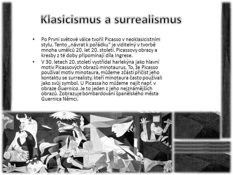 """• Po První světové válce tvořil Picasso v neoklasicistním stylu. Tento """"návrat k pořádku"""" je viditelný v tvorbě mnoha umělců 20. let 20. století. Pica"""