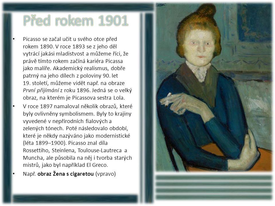 • V modrém období (1901–1904) tvořil Picasso tmavé obrazy vyvedené v modrých a modrozelených barvách, pouze zřídka použil teplejší barvy.