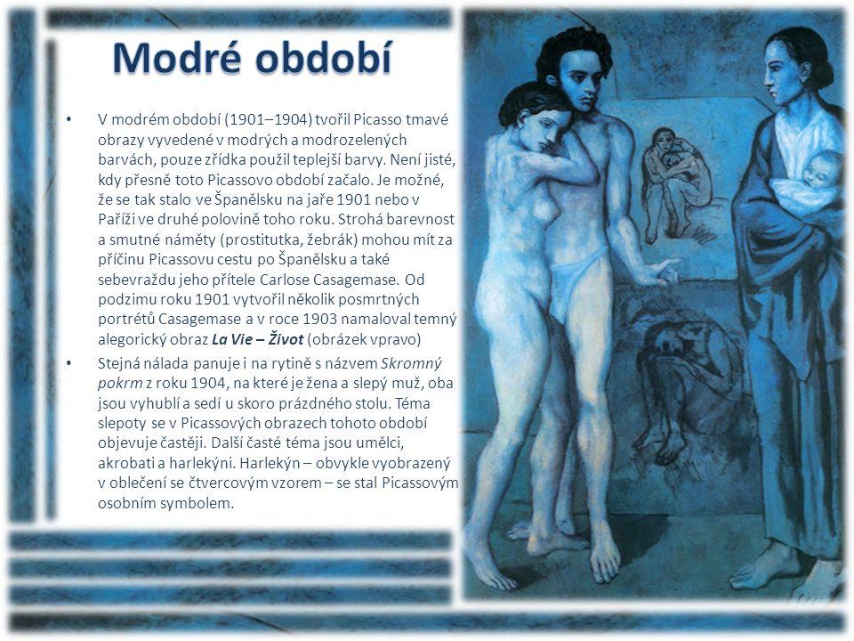 • V modrém období (1901–1904) tvořil Picasso tmavé obrazy vyvedené v modrých a modrozelených barvách, pouze zřídka použil teplejší barvy. Není jisté,