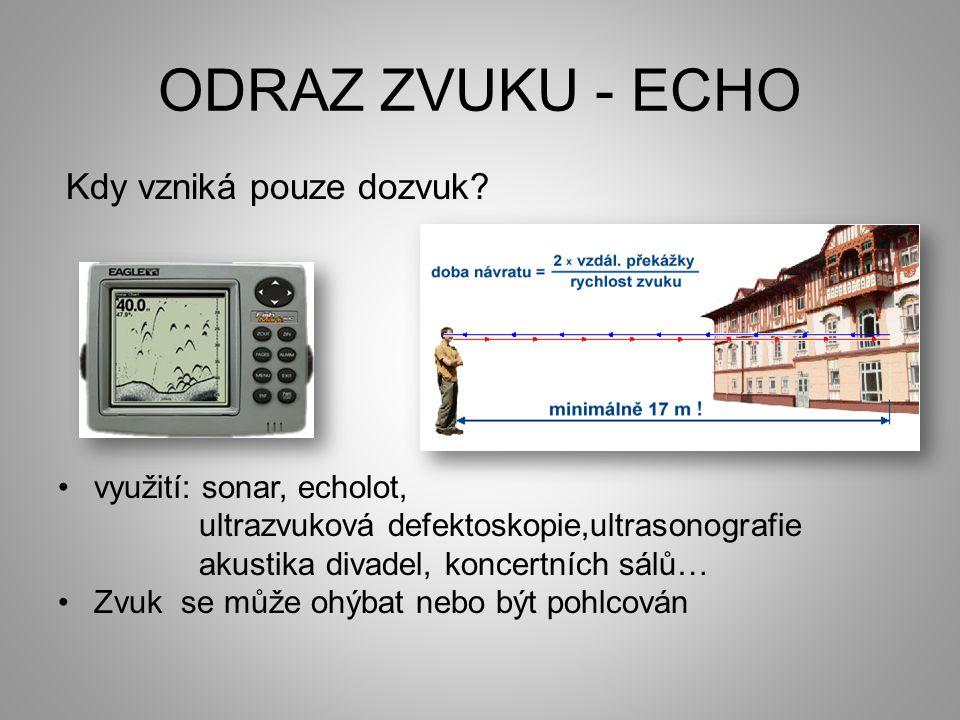 ODRAZ ZVUKU - ECHO Kdy vzniká pouze dozvuk.