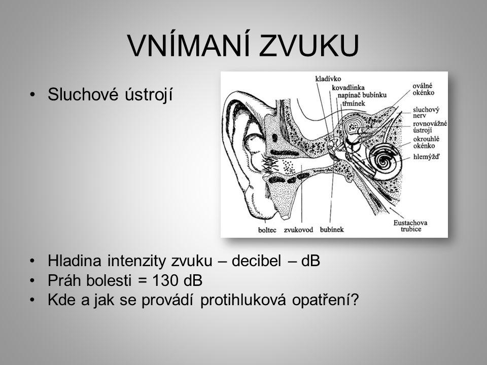 VNÍMANÍ ZVUKU •Sluchové ústrojí •Hladina intenzity zvuku – decibel – dB •Práh bolesti = 130 dB •Kde a jak se provádí protihluková opatření?