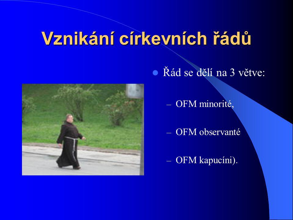 Vznikání církevních řádů  Řád menších bratří (Ordo Fratrum Minorum), alias františkáni – žebravý řeholní řád založený svatým Františkem z Assisi v ro