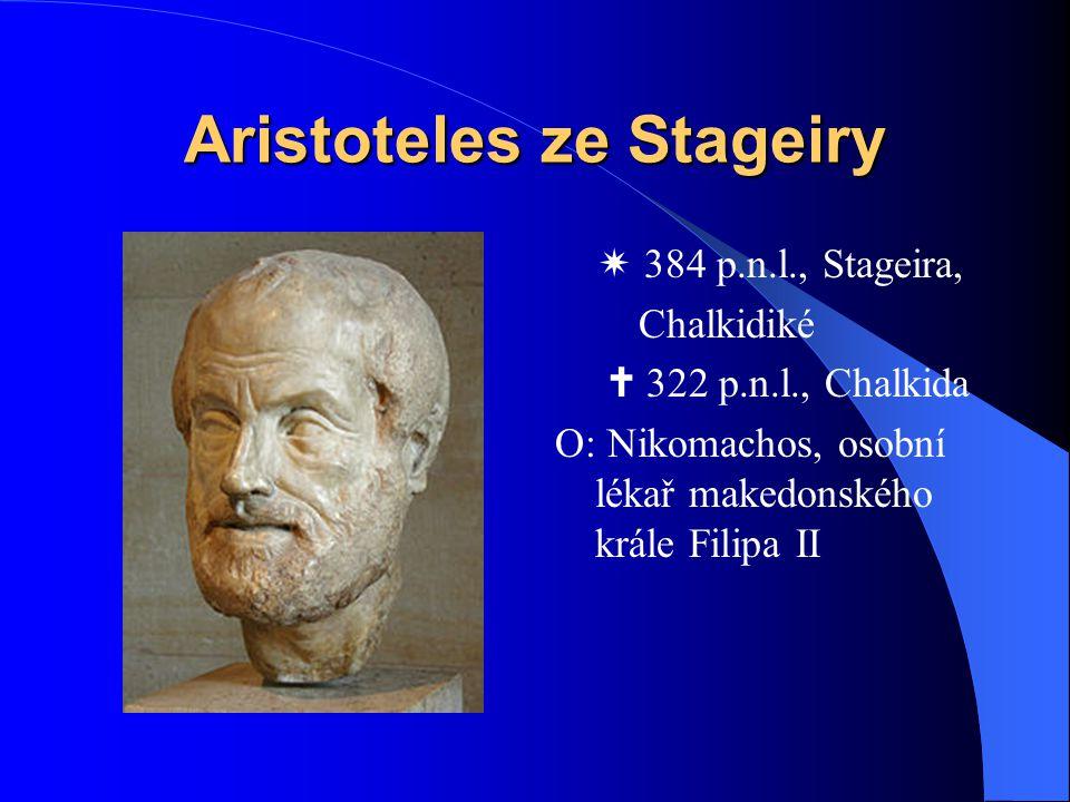 Aristoteles ze Stageiry  384 p.n.l., Stageira, Chalkidiké  322 p.n.l., Chalkida O: Nikomachos, osobní lékař makedonského krále Filipa II