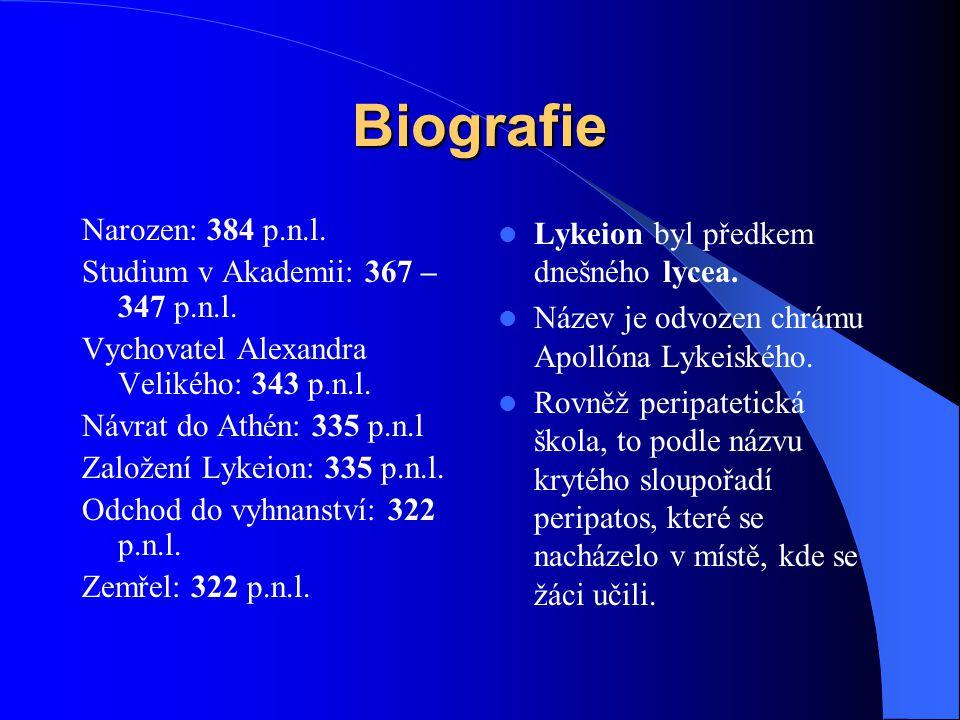 Biografie Narozen: 384 p.n.l.Studium v Akademii: 367 – 347 p.n.l.