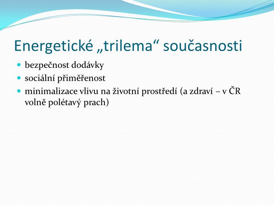 """Energetické """"trilema"""" současnosti  bezpečnost dodávky  sociální přiměřenost  minimalizace vlivu na životní prostředí (a zdraví – v ČR volně polétav"""