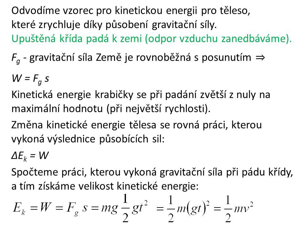 Odvodíme vzorec pro kinetickou energii pro těleso, které zrychluje díky působení gravitační síly. Upuštěná křída padá k zemi (odpor vzduchu zanedbávám