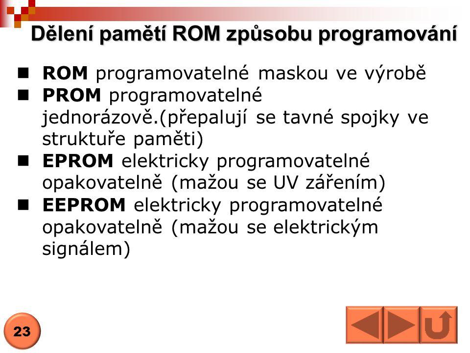 Dělení pamětí ROM způsobu programování  ROM programovatelné maskou ve výrobě  PROM programovatelné jednorázově.(přepalují se tavné spojky ve struktu