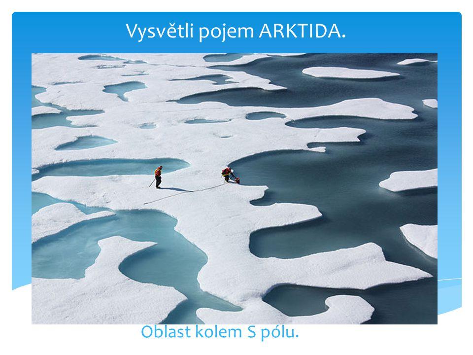 Vysvětli pojem ARKTIDA. Oblast kolem S pólu.