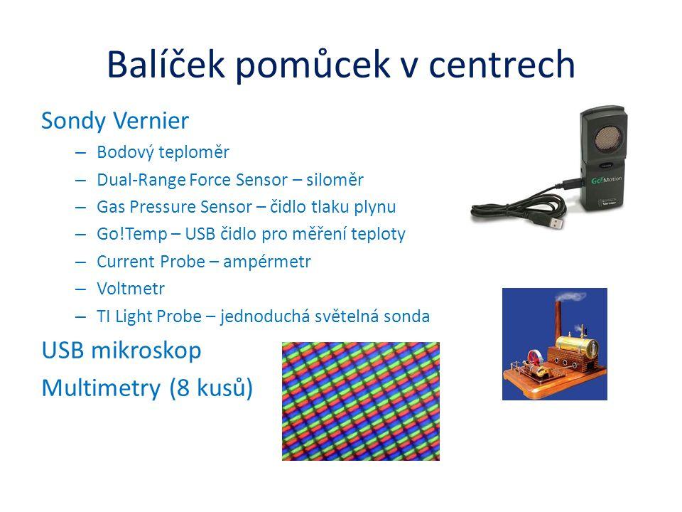 Balíček pomůcek v centrech Sondy Vernier – Bodový teploměr – Dual-Range Force Sensor – siloměr – Gas Pressure Sensor – čidlo tlaku plynu – Go!Temp – USB čidlo pro měření teploty – Current Probe – ampérmetr – Voltmetr – TI Light Probe – jednoduchá světelná sonda USB mikroskop Multimetry (8 kusů)